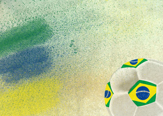 Vintage photo of Brazil flag and soccer ball - World cup concept