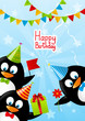 Funny penguins with Birthday gifts