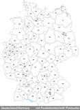 Karte von Deutschland mit Postleitzahlen