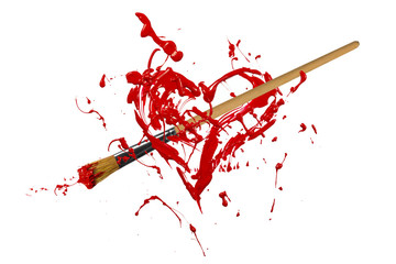 Red painted heart pierced by paintbrush