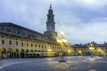 Vigevano Piazza Ducale early morning panorama color image