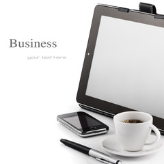 Mobile phone, tablet pc and cup of coffee