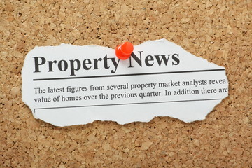Property News Headline pinned to a cork notice board