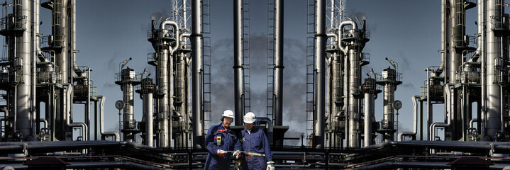 oil and gas power industry panormaic view with people