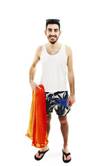 A young male in bathing clothes on white background