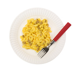 Mac and cheese with meat on plate