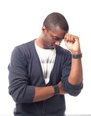 Pensive afro-american man