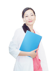 Portrait of young asian smiling doctor at clinic