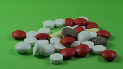 Medical Pills On A Green Screen, Chroma, Key