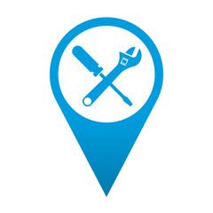 Icono localizacion simbolo destornillador y llave inglesa