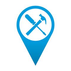 Icono localizacion simbolo destornillador y martillo