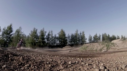 Motocross motorcycle on a dirt road with sound
