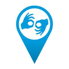 Icono localizacion simbolo lenguaje de signos
