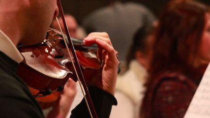 Male performs lead violin sole part playing at classical concert