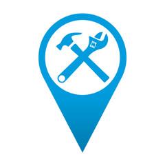 Icono localizacion simbolo martillo y llave inglesa