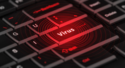 computer virus from internet with message on enter key of