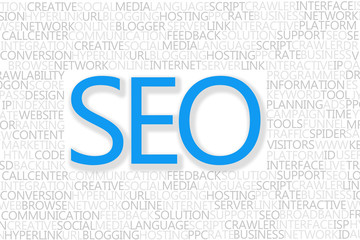 SEO Concept text with popular words from search engine optimizat