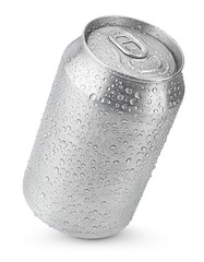 330 ml aluminum soda can with water drops isolated on white