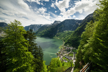 View overlooking the Hallstatt lake and town, Austria