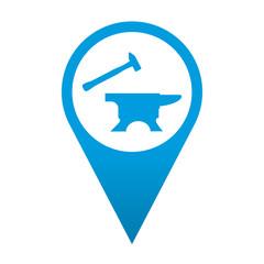 Icono localizacion simbolo yunque y martillo