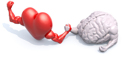 heart and brain arm wrestling
