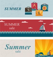 Three summer sale banners.