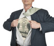 Businessman showing twenty dollar bill superhero suit underneath