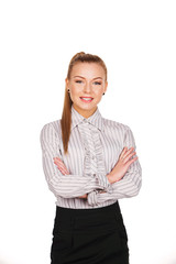 business woman standing with folded hands