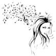Notenschlüssel Noten Musik Frau Vektor