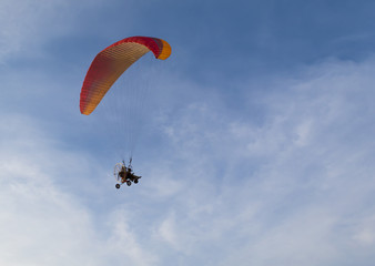 Paramotor flying in the sky