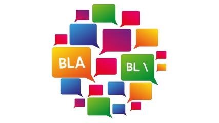 Sprechblasen bla blabla blablabla Kommunikation Reden