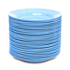 stack of blue plate isolated on white background