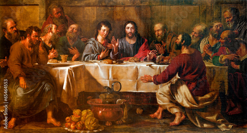 Fototapeta BRUSSELS - JUNE 21: Paint of Last supper of Christ in st. Nicho