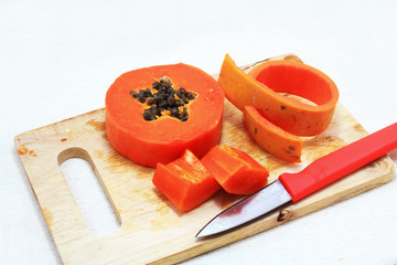 Sweet papaya close up isolated