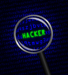 """HACKER"" revealed in computer code through a magnifying glass"