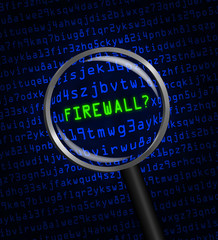 """FIREWALL?"" revealed in computer code through a magnifying glass"