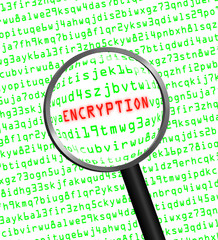 """ENCRYPTION"" revealed in computer code through a magnifying glas"