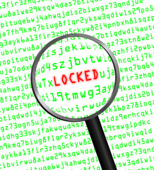 """LOCKED"" revealed in computer code through a magnifying glass"