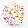 large colored circle of the small polka dots