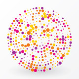 large colored circle of the small polka dots