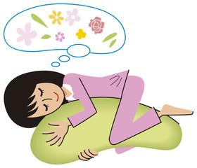 抱き枕に癒される女性