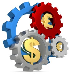 3d Gears with dollar, pound and euro signs