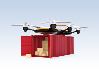 Air drone and opened cargo container with cardboard boxes