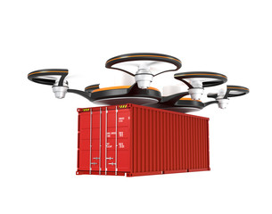 Air drone carrying a cargo container on white background