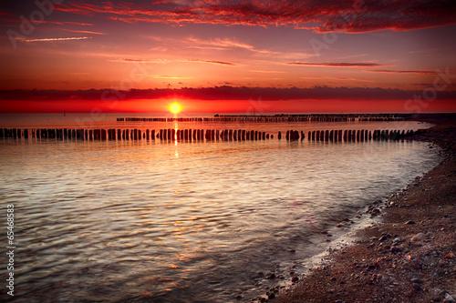 Fototapeta Sonnenuntergang an der Ostsee