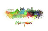 Memphis skyline in watercolor poster