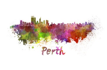 Perth skyline in watercolor