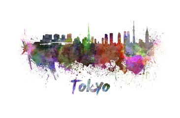 Tokyo skyline in watercolor