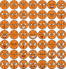 49 facial expressions set - basketball character