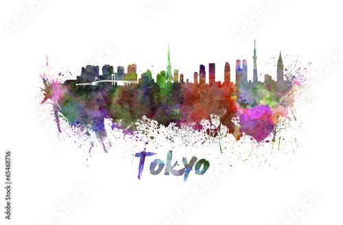 Plagát, Obraz Tokyo skyline in watercolor
